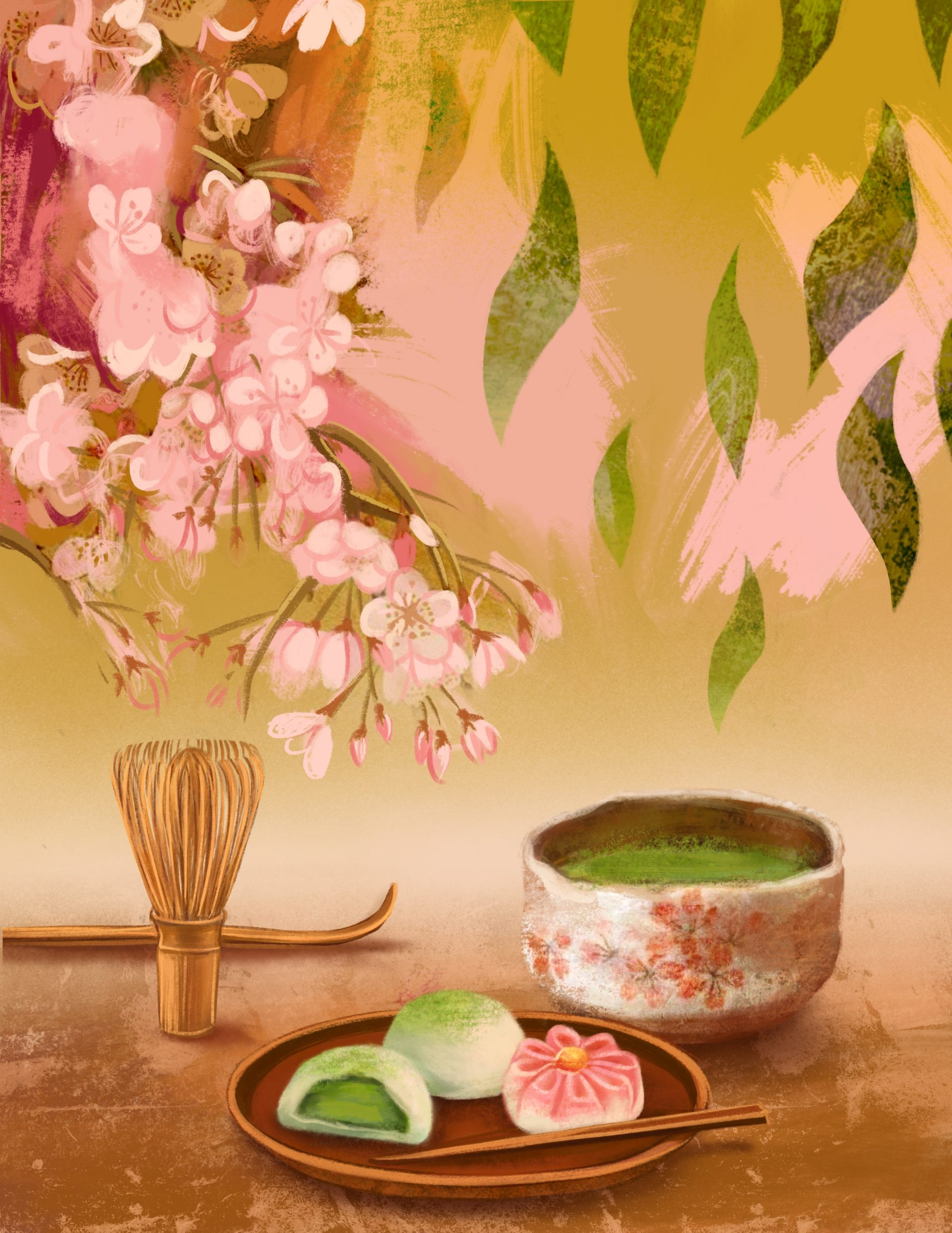 Matcha tea set illustration, Japonism