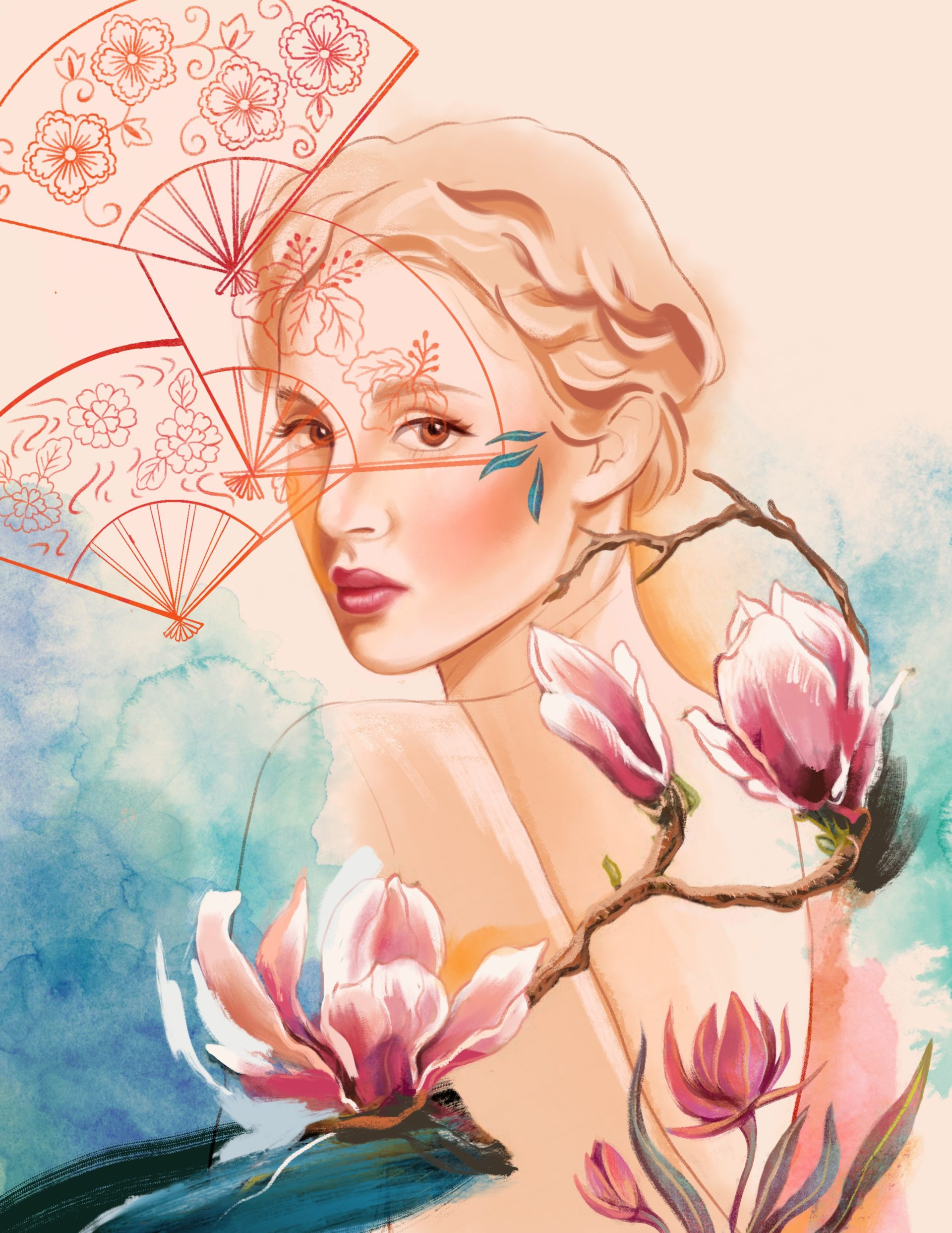 Illustration portrait woman, magnolia and fans