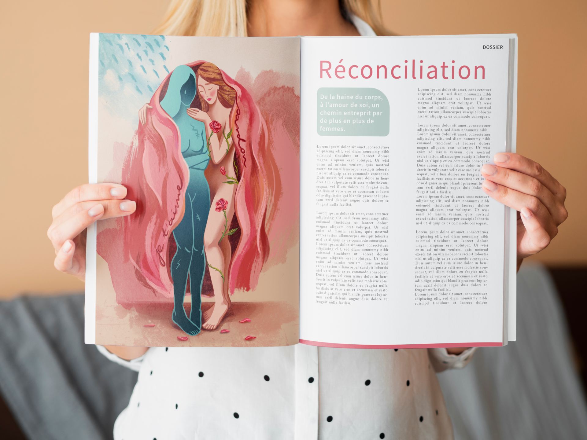 Mockup Female Magazine Illustration
